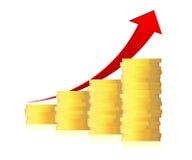 Diagramm des Geschäfts 3d mit Pfeil und Münzen Lizenzfreie Stockfotografie