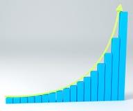 Diagramm des Geschäfts 3D mit Pfeil oben Lizenzfreies Stockfoto