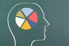 Diagramm des menschlichen Gehirns mit buntem Diagramm Lizenzfreie Stockbilder