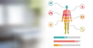 Diagramm des menschlichen Körpers und Krankenhauszimmerübergang Lizenzfreie Stockfotografie