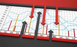 Diagramm, Diagramm mit Pfeilen Stockfotografie