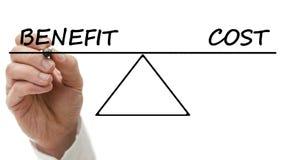 Diagramm eines ständigen Schwankens, das Nutzen und Kosten zeigt Stockfoto