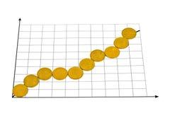 Diagramm gebildet von den Münzen Stockfotos