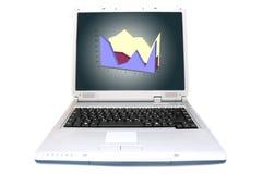 Diagramm gezeigt in 3D auf Laptop stockfotos