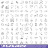 100 diagramm icons set, outline style Stock Photo