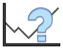 Diagramm mit blauem Fragezeichen Lizenzfreies Stockbild