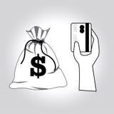 Diagramm mit einer Maus und Dollarbanknoten Lizenzfreie Stockfotos
