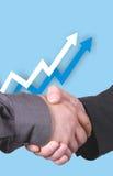 Diagramm mit Händedruck Lizenzfreies Stockfoto