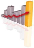 Diagramm mit Pfeil Stockfoto