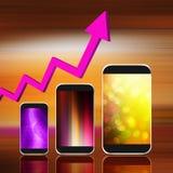 Diagramm mit Smartphone auf abstraktem Hintergrund, Handy illust Lizenzfreies Stockbild