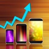 Diagramm mit Smartphone auf abstraktem Hintergrund, Handy illust Stockbild