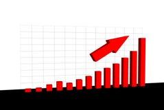 Diagramm mit wachsenden Werten und einem Pfeil Lizenzfreie Stockfotos