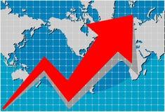 Diagramm mit Weltkarte Stockfoto