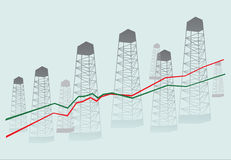 Diagramm and oil derricks. Illustrarion with diagramm and oil derricks Stock Photo