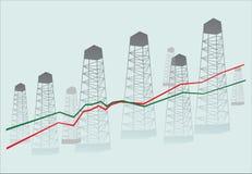 Diagramm and oil derricks Stock Photo