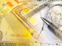 Diagramm, Rechner und Geld, Collage Stockbilder