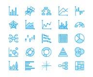 Diagramm schreibt flache Linie Ikonen Lineares Diagramm, Spalte, Tortendonutdiagramm, Finanzberichtsillustrationen, infographic d vektor abbildung