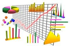 Diagramm und Diagramme über Rasterfeld Lizenzfreie Stockfotografie