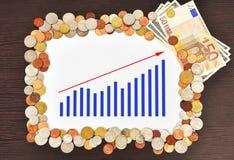 Diagramm und Geld Stockbilder