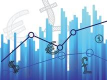 Diagramm- und Geldsymbol Lizenzfreie Stockfotos