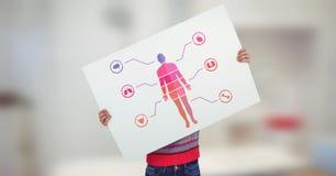 Diagramm und Junge des menschlichen Körpers, die Karte halten Lizenzfreies Stockbild