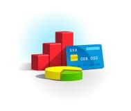 Diagramm und Kreditkarte lizenzfreie abbildung