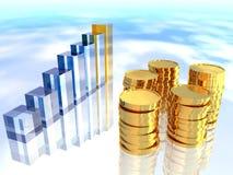 Diagramm und Münzen Lizenzfreie Stockfotos
