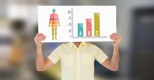 Diagramm und Mann des menschlichen Körpers, die Karte halten Lizenzfreie Stockfotografie