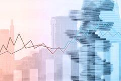 Diagramm und Reihen von Münzen Finanzinvestitionskonzept stockbild