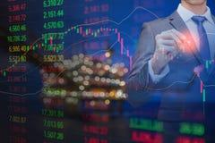 Diagramm von Börsedaten und Finanz mit Indikator, setzend Preis fest lizenzfreie stockbilder