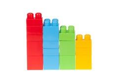 Diagramm von Farbplastikziegelsteinen, lokalisiert Lizenzfreie Stockfotos