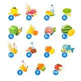 Diagramm von Lebensmittelikonen und von Vitamingruppen Lizenzfreie Stockbilder