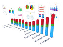 Diagramm with wall of charts in perspective Stock Image