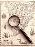 Diagramma antico del mare, magnifier Immagini Stock
