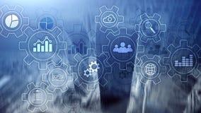 Diagramma astratto di processo aziendale con gli ingranaggi e le icone Concetto di tecnologia di automazione e di flusso di lavor illustrazione di stock