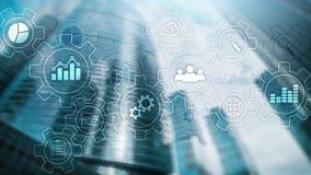 Diagramma astratto di processo aziendale con gli ingranaggi e le icone Concetto di tecnologia di automazione e di flusso di lavor immagini stock libere da diritti