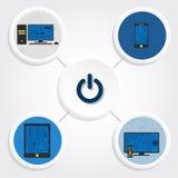 Diagramma, attrezzature elettroniche e bottone Fotografie Stock
