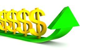 Diagramma aumentante dei dollari con la freccia verde Fotografia Stock