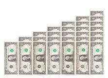 Diagramma in aumento dei soldi Fotografie Stock