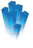 Diagramma blu 3D con i segni rossi di valuta Fotografie Stock Libere da Diritti