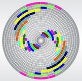 Diagramma circolare geometrico astratto con le cellule variopinte e la maglia circolare Fotografie Stock Libere da Diritti