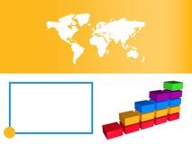Diagramma a colonna arancione di affari che mostra sviluppo Fotografia Stock