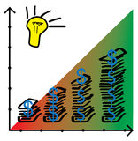 Diagramma a colonna dai mucchi di soldi con una lampadina Immagine Stock