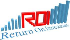 Diagramma a colonna di affari di ritorno su investimento di ROI Fotografie Stock