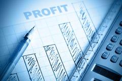 Diagramma a colonna di profitto Fotografia Stock Libera da Diritti