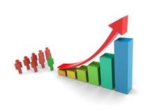 Diagramma a colonna di tendenza al rialzo degli investitori Fotografia Stock Libera da Diritti