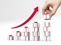 Diagramma a colonna fatto dei giftboxes con il nastro rosso Fotografia Stock Libera da Diritti