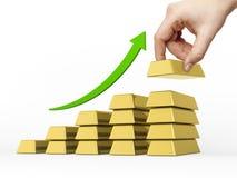Diagramma a colonna fatto delle barre dorate Immagini Stock