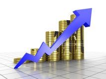 diagramma concettuale della moneta e della freccia reso 3d Immagine Stock
