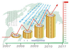 Diagramma crescente dell'euro Fotografia Stock